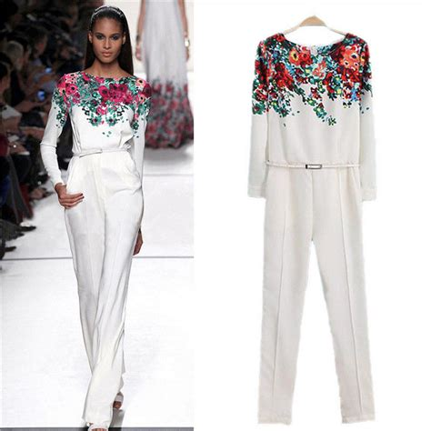 white sleeve jumpsuit 39 s white neck sleeve floral pattern