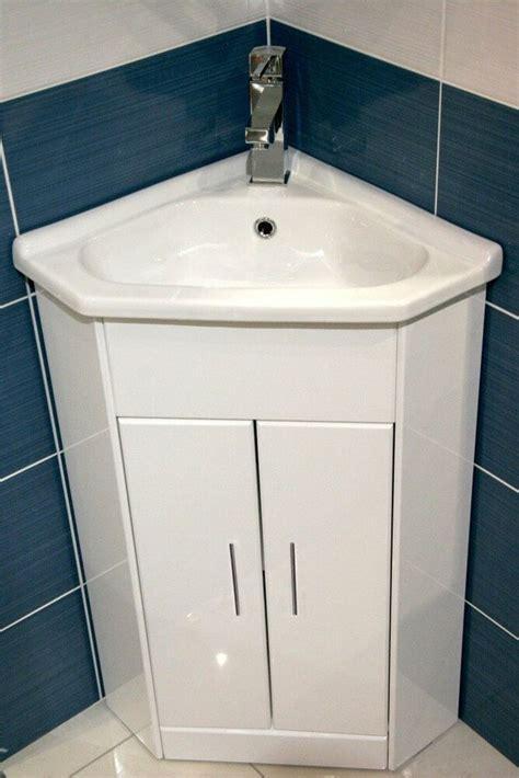white compact corner vanity unit bathroom furniture