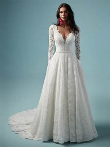 Lace V-neckline Long Sleeve Ball Gown Wedding Dress ...