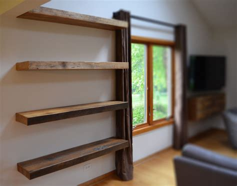 Rustic Floating Shelves Beautiful Shelf At Narrow Room