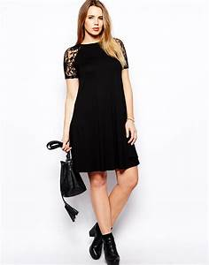 Asos Swing Dress With Lace Raglan Sleeve in Black | Lyst