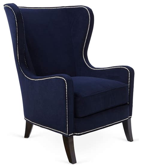dempsey wingback chair navy contemporary armchairs