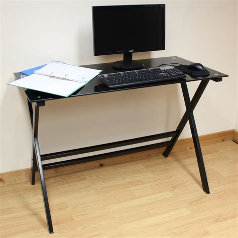 glass computer desk ebay hartleys home office study 110cm black glass top computer