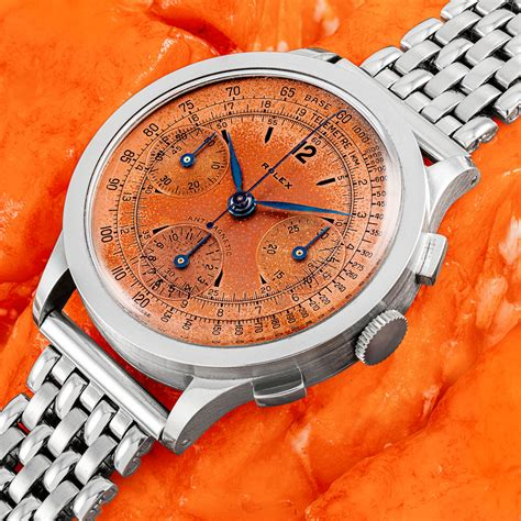 ROLEX, STEEL CHRONOGRAPH WITH SALMON DIAL, REF. 3330 ...