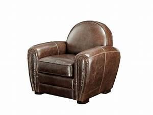 canape et fauteuil club baudoin en cuir vieilli With tapis chambre enfant avec club canapé cuir