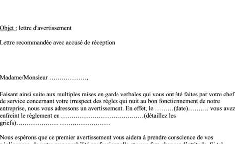 modele lettre avertissement absence non justifiée exemple de lettre de 1er avertissement