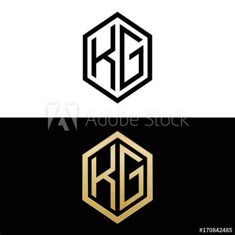 initial letters logo kg black  gold monogram hexagon shape vector buy  stock vector