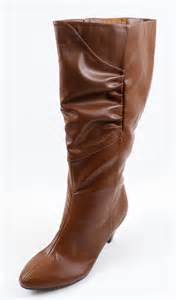 womens wide calf boots size 11 comfortview womens 11 m quot jackie quot scrunched high heel wide calf boots cognac