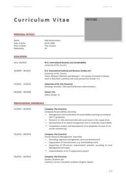 Lebenslauf Englisch Vorlage by Curriculum Vitae Lebenslauf Englisch Vorlage