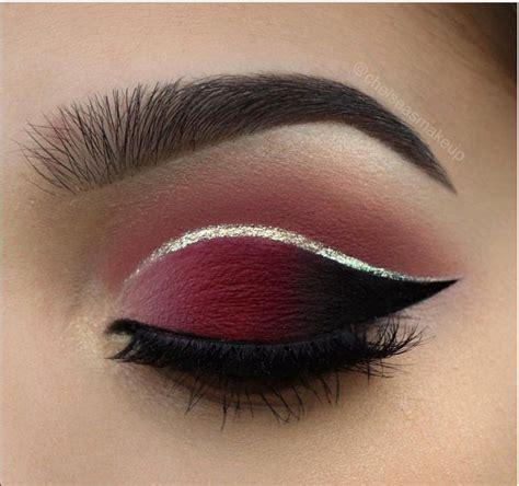 maroon  black smokey eyes silver crease wing eye