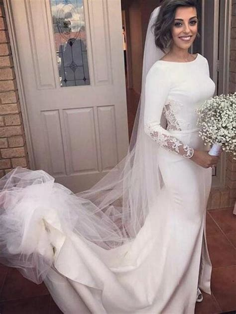 long sleeve wedding dresses mermaid brush train backless