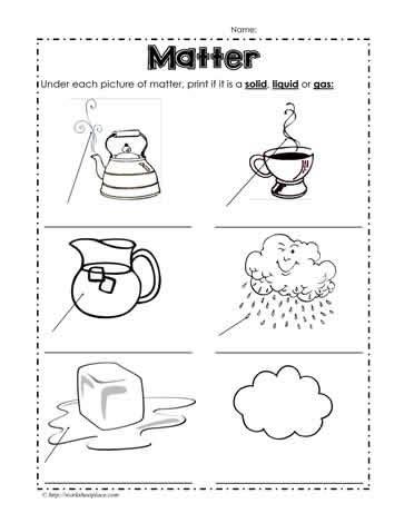 identifying states of solid matter worksheet idenftify the state of matter worksheets