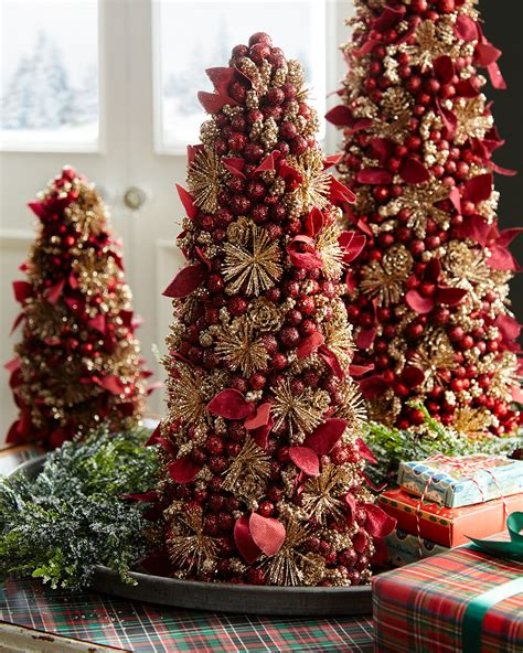 maroon christmas decorations salzburg creations burgundy and gold fireworks tabletop tree 18 quot neiman