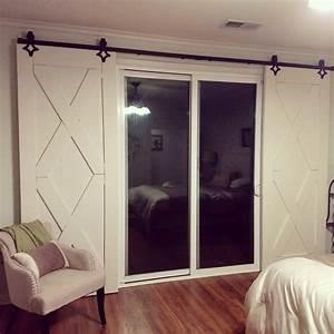 double x rustic barn door in white door wood door With barn doors over sliding glass doors
