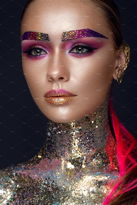 beautiful girl  creative glitter makeup sparkles