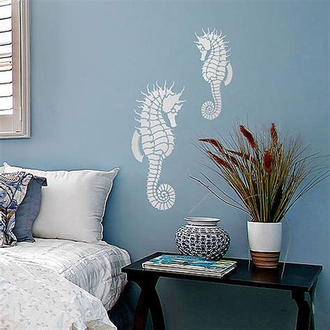 deco mural chambre seahorse wall stencil reusable wall stencils