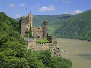 Rheinstein Castle Overlooking the River Rhine, Rhineland ...