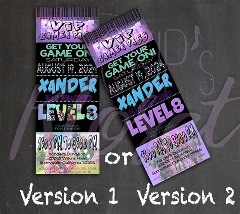fortnite video game party invitation ticket invite vip