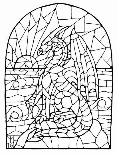 Stained Glass Dragon Window Template Stain Coloring