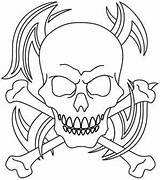 Skull Tribal Crossbones Coloring Skulls Tattoo Stencil Embroidery Urbanthreads Tattoos Stencils Templates Template Pattern Leather Patterns Tooling Awesome Carving Bones sketch template