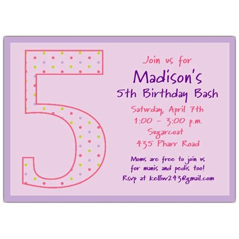 5th Birthday Girl Dots Birthday Invitations PaperStyle