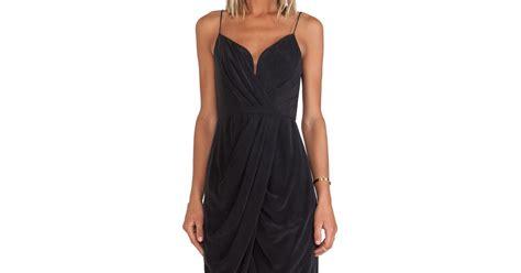 zimmerman silk drape dress zimmermann silk plunge drape dress in black lyst