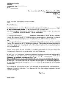 bureau central de tarification exemple gratuit de lettre réclamation refus assurance