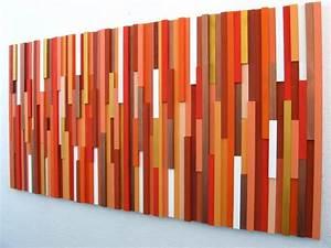 orange wall art wood wall art wood sculpture modern decor With orange wall art
