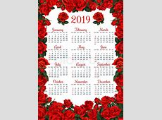 Year calendar template in red flower Stock Vector