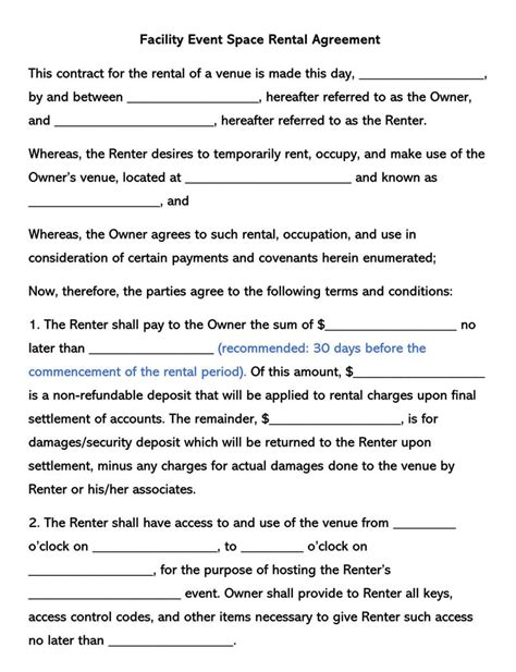 facility event space rental agreement templates