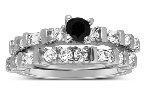 1 Carat Black And White Round Diamond Wedding Ring Set In