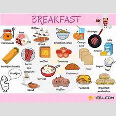 Breakfast Food List Useful List Of Breakfast Foods  7 E S L
