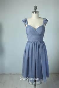 steel blue bridesmaid dresses neck lavender pleated chiffon flutter sleeve unique bridesmaid dress