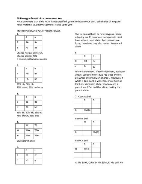 easy monohybrid practice problems worksheet goodsnyc