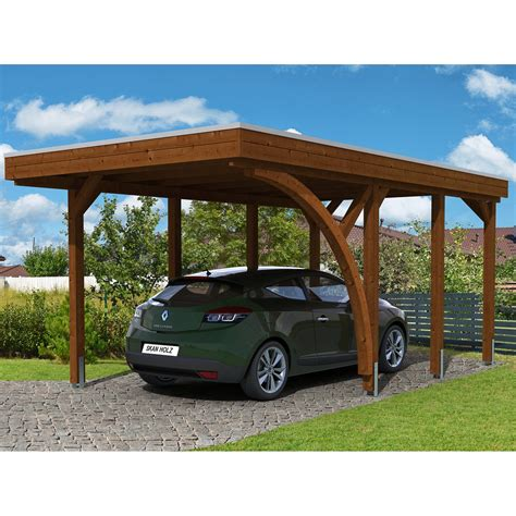 Holz Carport by Skan Holz Carport Friesland Set 5 314 Cm X 555 Cm Nussbaum