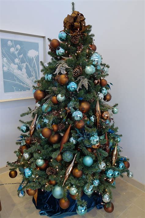 blue and brown christmas tree blue and gold tree photograph by richard reeve