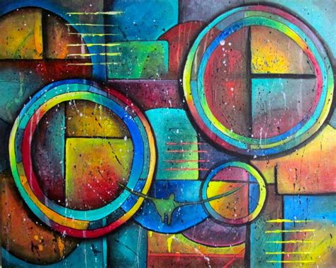 Abstract Painting Using Shapes by Geometric Shapes 30x24 Acrylic Abstract Contemporary