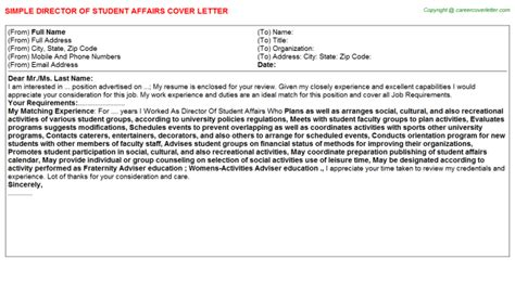 Student Affairs Director Resume by Director Of Student Affairs Cover Letter Sle