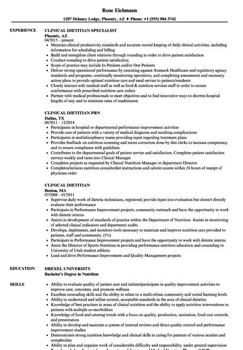 Dietitian Resume by Clinical Dietitian Resume Sles Velvet