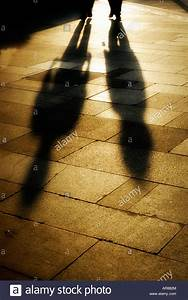 Long shadows cast by two people walking with the setting ...