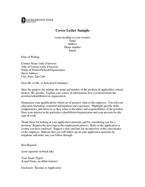 Generic Resume Title Exles by Same Cover Letters For Resume Cover Letter Sle Same Heading As Your Resume Name Address
