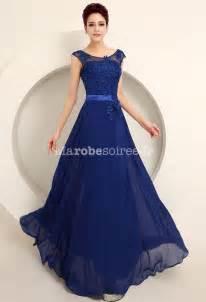 robe bleu roi mariage robe de cérémonie en mousseline et dentelle avec broderies