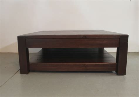 Large Square Old Pine Coffee Table In Espresso