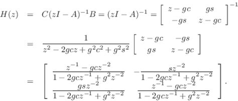 find jordan form representation of the following matrices transfer function of a state space filter introduction