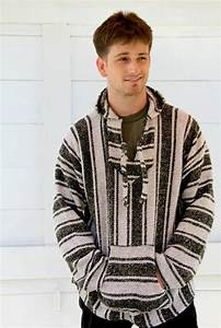 MENS Black and White Mexican Poncho Sweater Hoodie ...