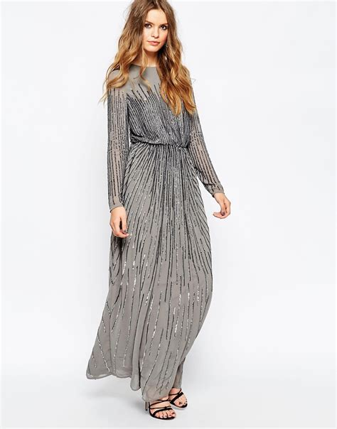 lyst asos linear sequin sleeve maxi dress in gray