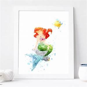 Princess Ariel Poster - Watercolor Art Print, Disney
