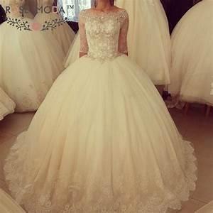 Stunning Boat Neck Half Lace Sleeves Princess Wedding Ball ...