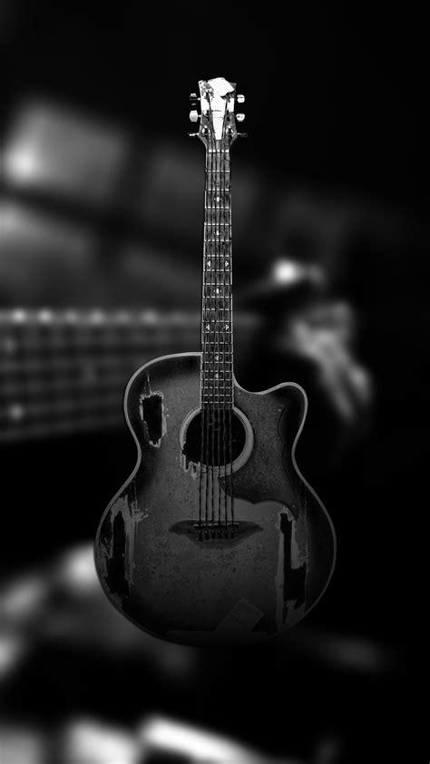 ultra hd black guitar wallpaper   mobile phone