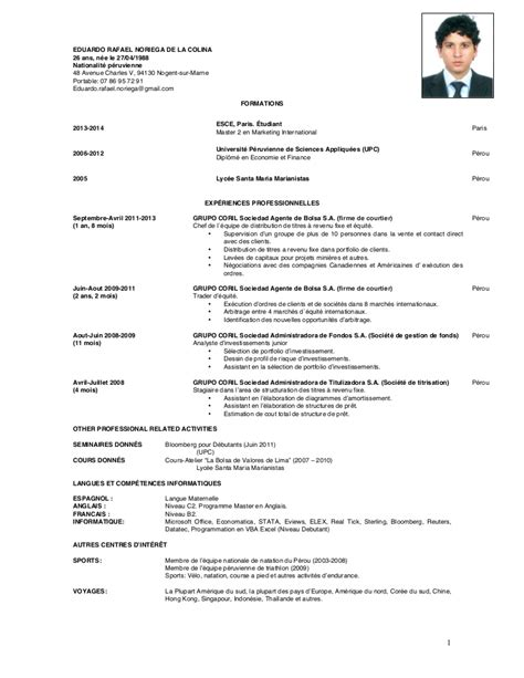 Presentation Du Cv En Francais by Cv Rafael 2014 Francais